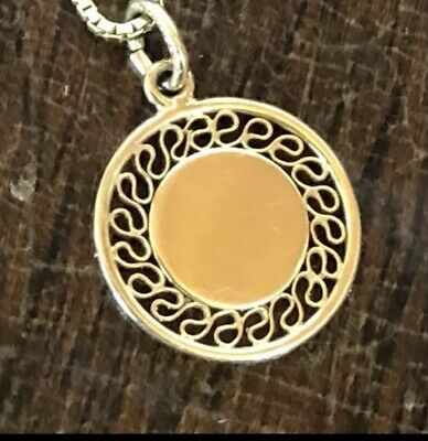 vintage 14K yellow Gold Medallion Necklace Engraveable Disc Coin New Pendant