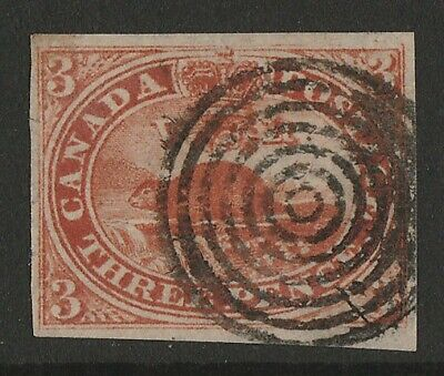 CANADA : 1852 Beaver 3d red. imperf, on wove paper.