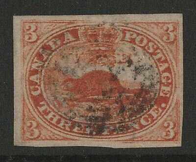 CANADA : 1852 Beaver 3d scarlet-vermilion, imperf, on wove paper.