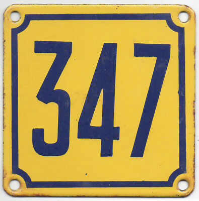 Old French house number 347 door gate wall plate plaque enamel steel metal sign