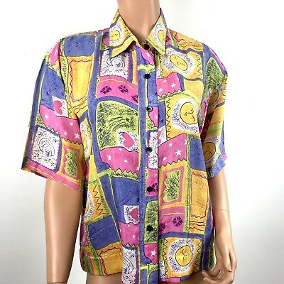 0433c3d71d610e Vintage 80s Croquet club Shirt Women s Size S 100% Silk Button Down Moon T48