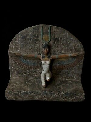 RARE EGYPTIAN ANTIQUE Winged ISIS GODDESS EGYPT Carved Stone STELA 1200-1085 BC