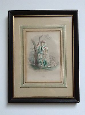 Antique 1849 Steel Engraving Hand Tinted ( Reduced )