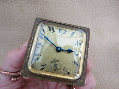 Small Antique French Alarm Clock Movement, Dial, And Hands For Spares Or Repair