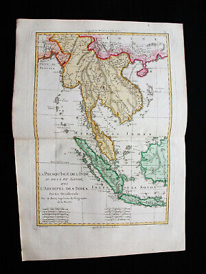 "1787 BONNE ""amazing map"" EAST INDIES, ASIA PHILIPPINES THAILAND GANGES SINGAPORE"