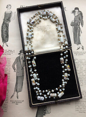 ANTIQUE ART DECO 1920s GATSBY VENETIAN END OF THE DAY BEADS FLAPPER NECKLACE