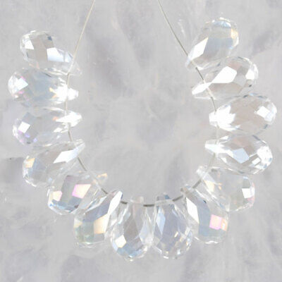 K539 13x8 8Pcs AB Color Faceted Crystal Teardrop Pendant Beads