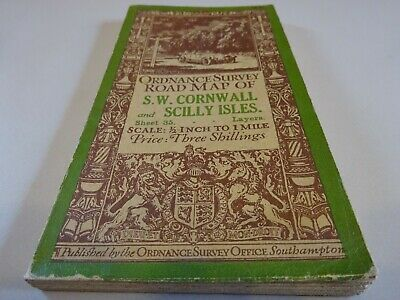 vintage cloth ordnance survey map of S W Cornwall and Scilly Isles 1920s