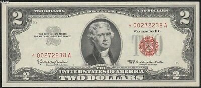 "1963 $2 ""Red Seal"" *Star Note* Small United States Note ""Crisp AU+"""