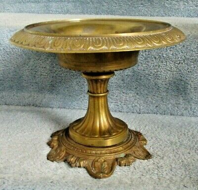 Antique Heavy Solid Large Brass Pedestal Compote 8 by 10.25""