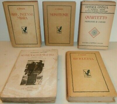 5 libri Oriani 1927 Bicicletta Quartetto Monotonie Oro incenso mirra