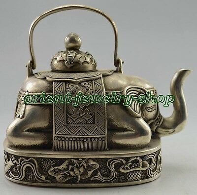 Collectible Old Handwork Tibet Silver Carved Elephant Tea Pot