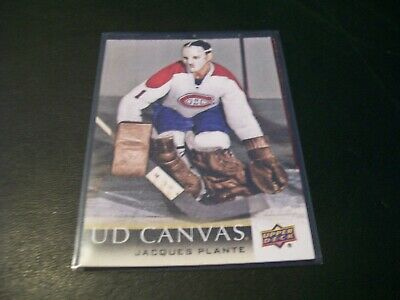 2018/19 Upper Deck Series 2 Jacques Plante Retired Stars Canvas Card