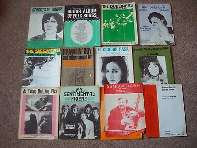 Collection Of 60s Sheet Music Books: Streets Of London, Dubliners, Seekers etc