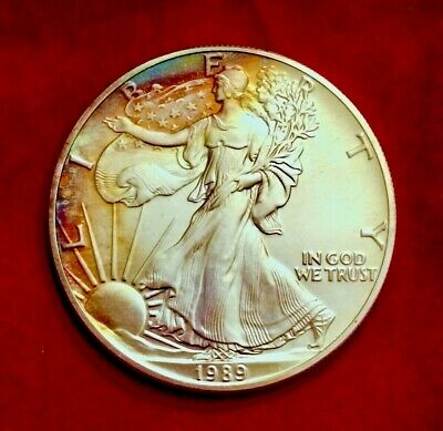 1989 AMERICAN EAGLE COIN 1oz. .999 SILVER BU TONED