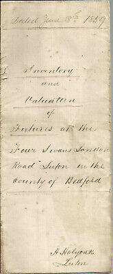 Inventory & Valuation - The Four Swans - London Road - Luton - Bedfordshire 1859