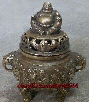 Chinese old tibet Folk Collection Bronze Copper Buddha lucky Incense Burner
