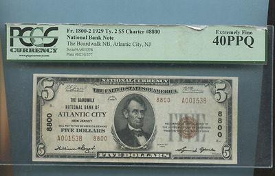 1929 ATLANTIC CITY NJ  FIVE DOLLAR BILL National Currency Bank Note #8800 PCGS40