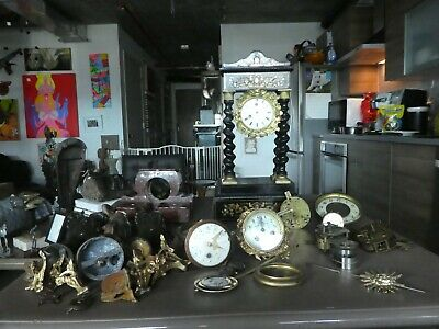 Large Assortment Of Late 19Th C French Clock Parts And 2 Cases