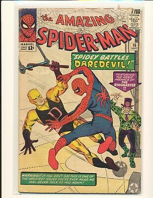 Amazing Spider-Man # 16 - 1st Daredevil X-over Fair Cond. ad cut out of b/c