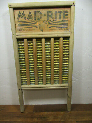 Vintage Old Antique Maid-Rite Family Size Wooden & Brass Washboard