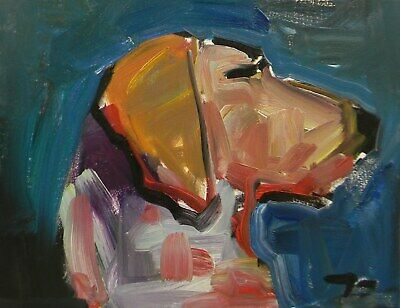 JOSE TRUJILLO Contemporary Impressionism DOG PUPPY BLUE TAN OIL PAINTING Signed
