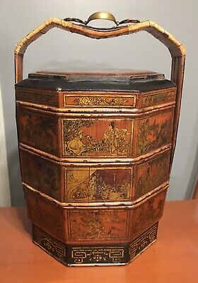 "Vtg Large Chinese 3 Tier Octagonal Wedding Basket Antique 24"" Hand Painted Gilt"