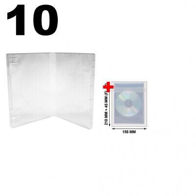 10 Clear Storage Cases 21mm for Rubber Stamps No Hub & 100 OPP Plastic Wrap Bag
