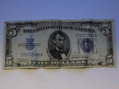 1934 A $5 Silver Certificate,Large Blue Seal,circulated Very Fine,Nice!