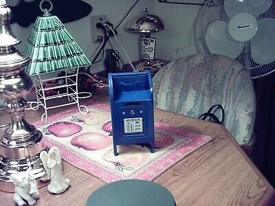 Vintage Blue Metal POST OFFICE MAILBOX Figural Coin ~ Still  Bank ~VERY CLEAN ~
