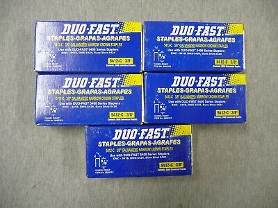 """Duo-Fast 5412-C 3/8"""" Galvanized 25,000 Staples 5 Boxes Of 5000 Each"""