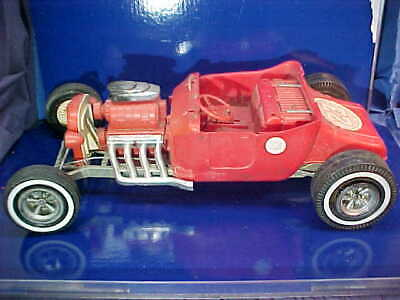 """1960s MARX Battery Op BIG RED Bucket T Toy HOT ROD CAR Large 26"""" Size"""