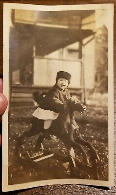 Vtg Early 1900's CHILD RIDING WOODEN ROCKING HORSE PHOTO~Lot Antique Toy