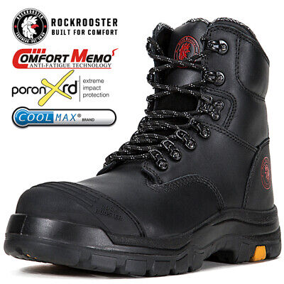 ROCKROOSTER Men's Work Boots Lace-up Steel Toecap Water Resistant Safety Shoes
