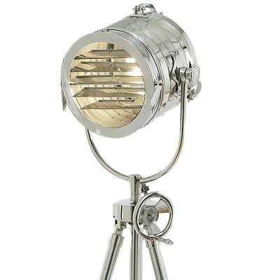 Nautical Vintage Industrial Chrome Spot Search Light Tripod Stand Floor Lamp