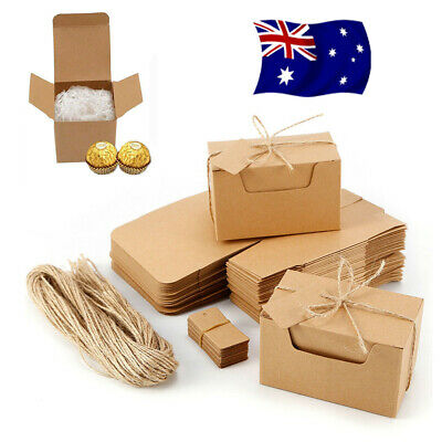 50pcs Vintage Kraft Paper Brown Candy Box Gift Wedding Party Favour Supplies NEW