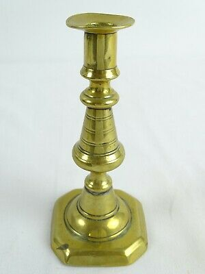 Antique c1820 Large Victorian Brass Candlesticks push Ejector England 19thC