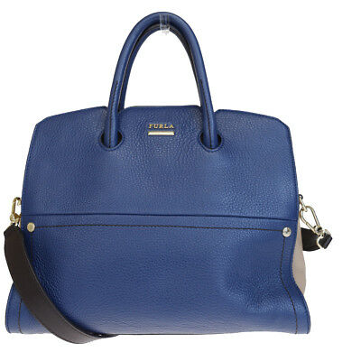 Authentic FURLA Logos 2Way Shoulder Hand Bag Genuine Leather Blue 01EM620