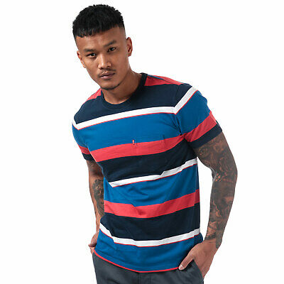 Mens Levis Sunset Pocket Sixties Rugby T-Shirt In Red Blue- Short Sleeve- Ribbed