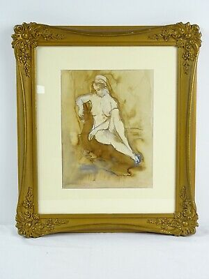 Art Sale : RARE Constance Stokes Watercolour Seated Female Nude - Listed Artist