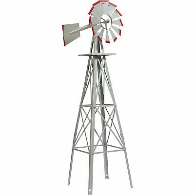 4ft. Ornamental Decorative Garden Windmill Weather Vane- Galvanized w/ Red Tips