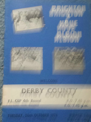 Brighton & Hove Albion v Derby County, League Cup, 1976-77