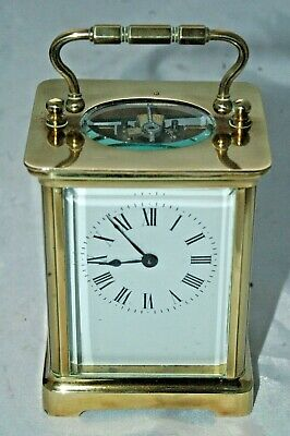 Victorian French Brass Carriage Clock With Key & Case.all Original.