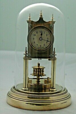 Antique Gustav Becker Anniversary Clock,glass Dome,with Key.