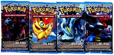 4 BOOSTERS POKEMON BLACK & WHITE noble wins of 10 Cards + 1 Card CODE
