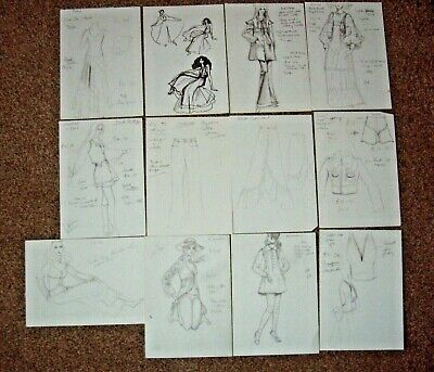 Collection Of 12 Early 1970s Fashion Designs - Lovely Pencil Drawings - Georgous