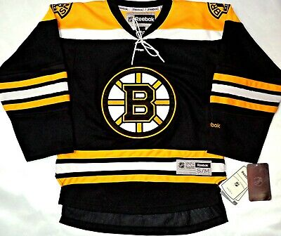 0b1cb921978 Nwt Boston Bruins Home black Youth S m Nhl Reebok Jersey Embroidered Msrp   90