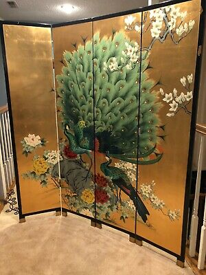 "Antique Asian 4 panel room divider 64"" wide x 72"" tall peacocks & cherry blossom"