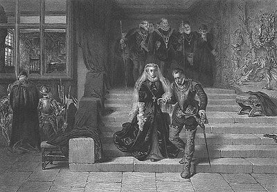 Scotland, MARY QUEEN OF SCOTS DEATH EXECUTION ~ Antique 1875 Art Print Engraving