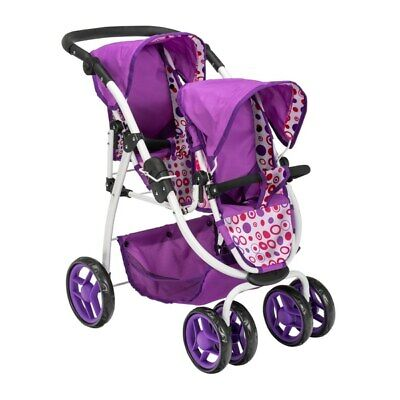 Ella Tandem Baby Twin Doll Stroller Double Buggy Pushchair Purple Pram Twin Doll